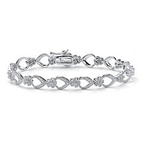 3/8 TCW Diamond Flower-Link Bracelet in Platinum over .925 Sterling Silver 7.25""