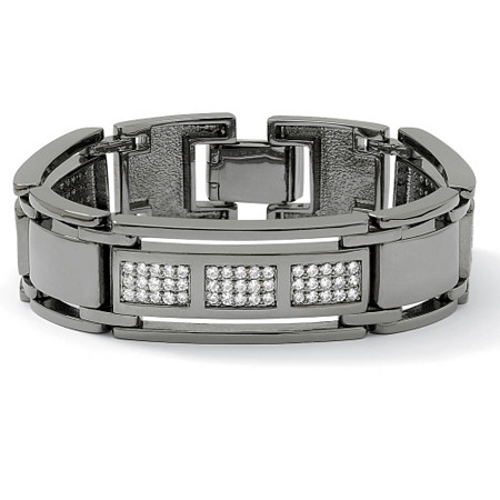 Men's 4.50 TCW Round Cubic Zirconia Black Rhodium-Plated Bar-Link Bracelet 8 1/2