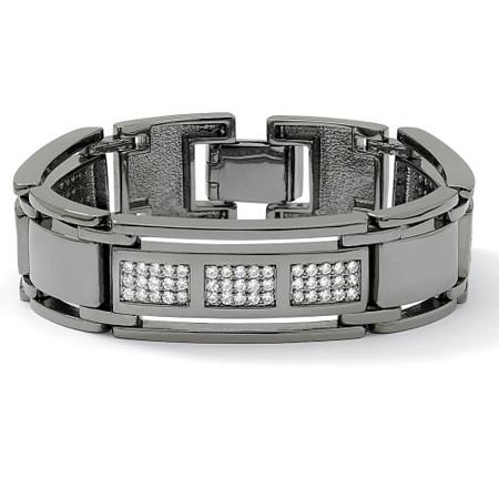 Men's 4.50 TCW Round Cubic Zirconia Black Rhodium-Plated Bar-Link Bracelet 8 1/2