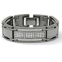 SETA JEWELRY Men's 4.50 TCW Round Cubic Zirconia Black Rhodium-Plated Bar-Link Bracelet 8 1/2