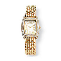 SETA JEWELRY Crystal Watch in Yellow Gold Tone 7 1/2