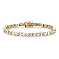 SETA JEWELRY 12.40 TCW Round and Princess-Cut Cubic Zirconia 14k Gold-Plated Tennis Bracelet 7 1/4