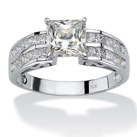 2.42 TCW Princess-Cut Cubic Zirconia 10k White Gold Engagement Anniversary Ring at PalmBeach Jewelry