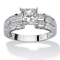 SETA JEWELRY 2.42 TCW Princess-Cut Cubic Zirconia 10k White Gold Engagement Anniversary Ring