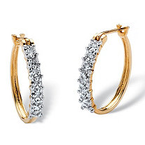 "1/10 TCW Round Diamond Hoop Earrings in 10k Gold (3/4"")"