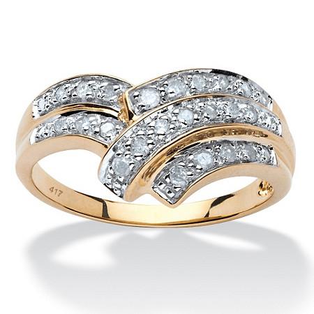 1/4 TCW Round Diamond Anniversary Chevron Bypass Ring in 10k Yellow Gold at PalmBeach Jewelry
