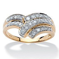 SETA JEWELRY 1/4 TCW Round Diamond Anniversary Chevron Bypass Ring in 10k Yellow Gold