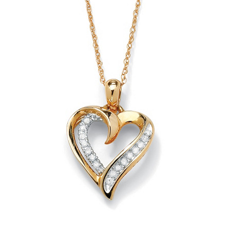1/10 TCW Round Diamond Heart Pendant Necklace in 10k Gold 18