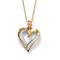 SETA JEWELRY 1/10 TCW Round Diamond Heart Pendant Necklace in 10k Gold 18