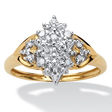 1/10 TCW Round Diamond Cluster Anniversary Ring in 10k Gold at PalmBeach Jewelry