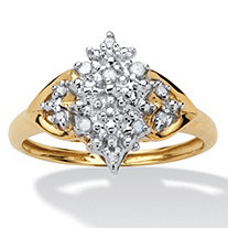 SETA JEWELRY 1/10 TCW Round Diamond Cluster Anniversary Ring in 10k Gold