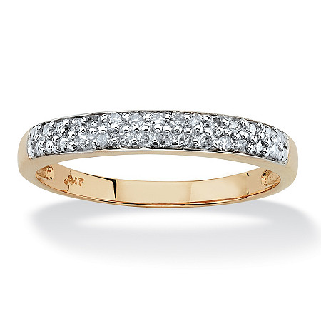 Diamond Accent Double Row Ring in Solid 10k Yellow Gold at PalmBeach Jewelry
