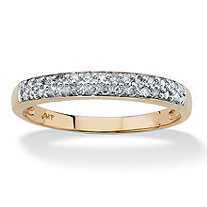 Diamond Accent Double Row Ring in Solid 10k Yellow Gold