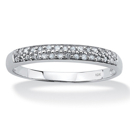Diamond Accent Double Row Ring in Solid 10k White Gold at PalmBeach Jewelry