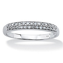 Diamond Accent Double Row Ring in Solid 10k White Gold
