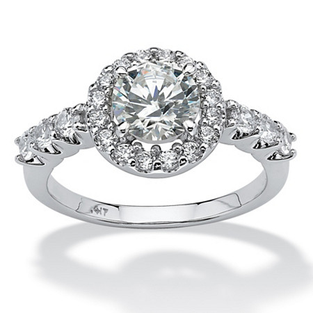 1.77 TCW Round Cubic Zirconia 10k White Gold Engagement Anniversary Ring at PalmBeach Jewelry