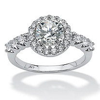 1.77 TCW Round Cubic Zirconia 10k White Gold Engagement Anniversary Ring