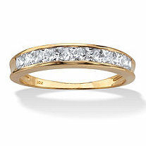 SETA JEWELRY .81 TCW Princess-Cut Cubic Zirconia 10k Yellow Gold Channel-Set Anniversary Ring Wedding Band