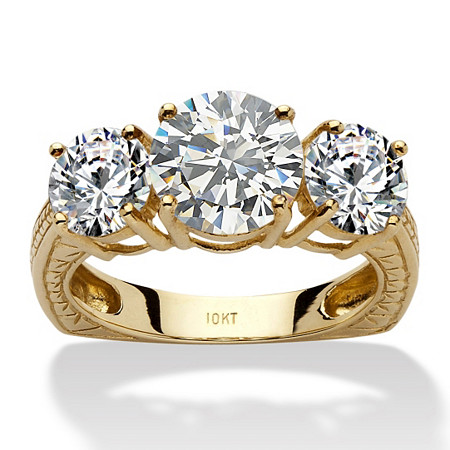 3.60 TCW Round Cubic Zirconia 10k Yellow Gold 3-Stone Engagement/Anniversary Ring at PalmBeach Jewelry