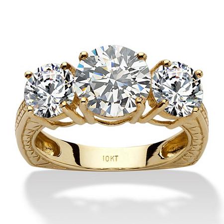 3.60 TCW Round Cubic Zirconia 10k Yellow Gold 3-Stone Engagement/Anniversary Ring at PalmBeach Jewelry