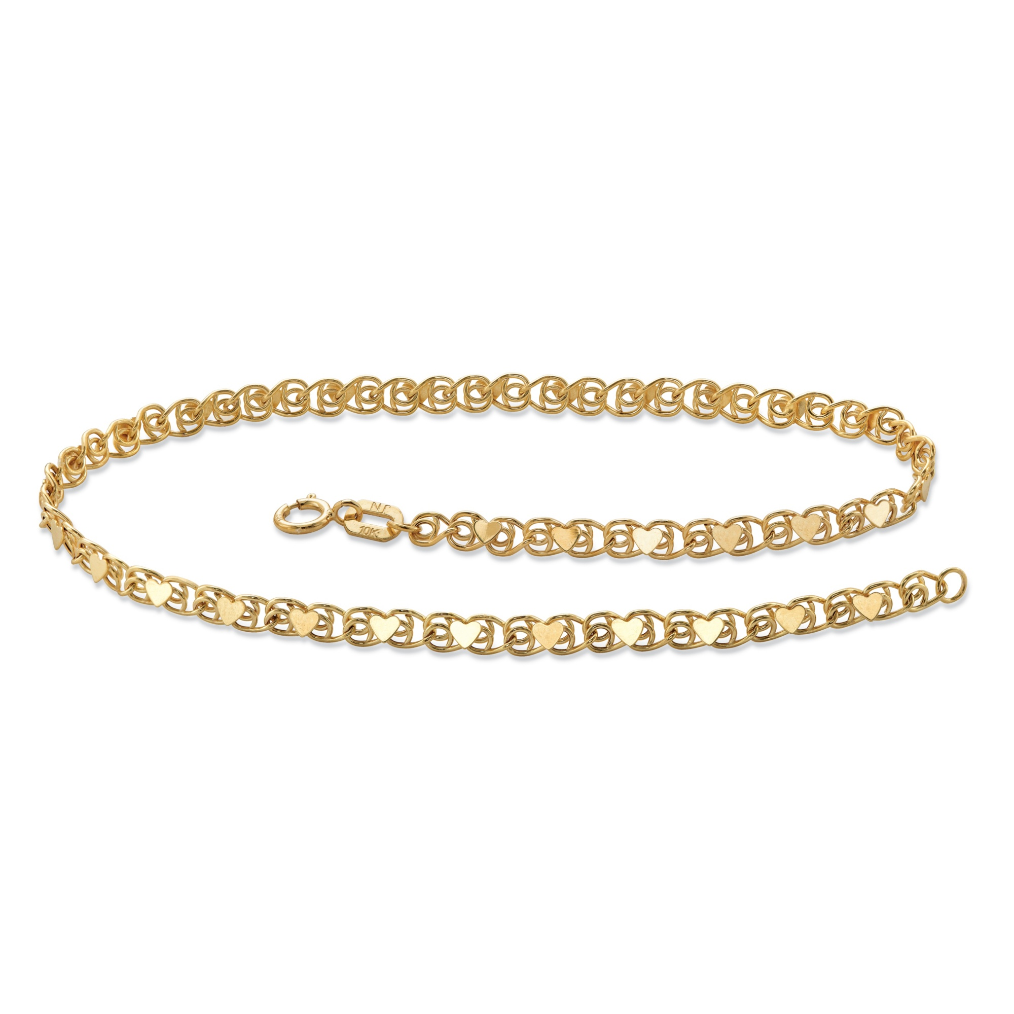 chain gold jewels anklet by ankle product heart karat diamond elle bracelet
