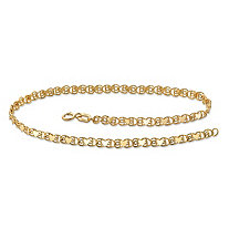 10k Yellow Gold Heart-Link Ankle Bracelet 9.25""