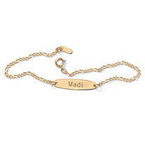 Personalized I.D. Figaro-Link Ankle Bracelet in 10k Yellow Gold 9 1/4