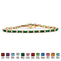Emerald-Cut Birthstone 14k Yellow Gold-Plated Tennis Bracelet