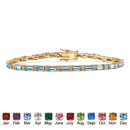 Emerald-Cut Birthstone 14k Yellow Gold-Plated Tennis Bracelet at PalmBeach Jewelry