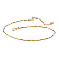 "18k Gold over Sterling Silver Bar and Bead Link Ankle Bracelet Adjustable 9""-11"""