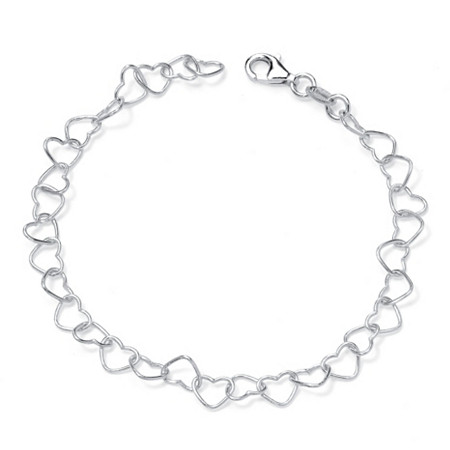 "Sterling Silver Heart Link Ankle Bracelet 11"" at PalmBeach Jewelry"