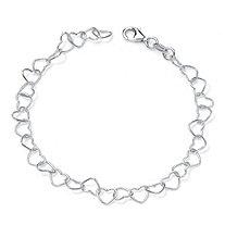 "Sterling Silver Heart Link Ankle Bracelet 11"""