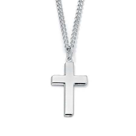 "Men's Rhodium-Plated Sterling Silver Cross Pendant and Stainless Steel Curb-Link Chain Necklace 24"" at PalmBeach Jewelry"