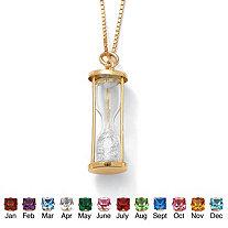 Genuine Birthstone Granules 18k Gold over Sterling Hourglass Pendant