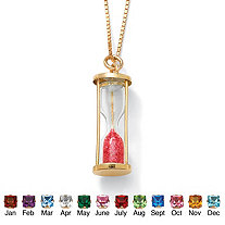 Genuine Birthstone Granules 18k Gold over Sterling Hourglass Pendant