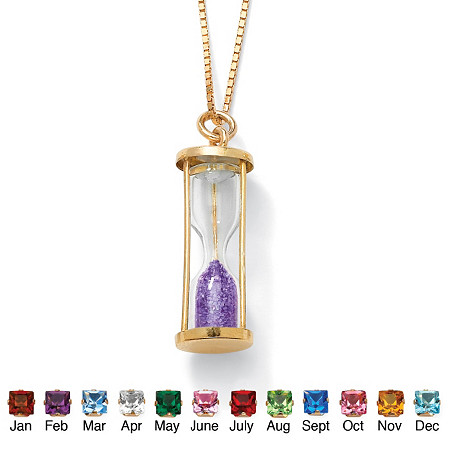 Genuine Birthstone Granules 18k Gold over Sterling Hourglass Pendant at PalmBeach Jewelry