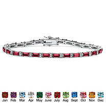 "Emerald-Cut Birthstone Silvertone Tennis Bracelet 7.5"""