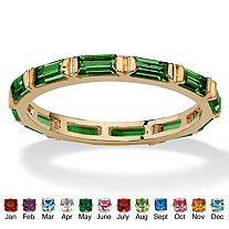 SETA JEWELRY Baguette-Cut Birthstone Eternity Stack Ring 14k Gold-Plated