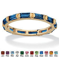 Baguette-Cut Simulated Birthstone Eternity Stack Ring 14k Gold-Plated