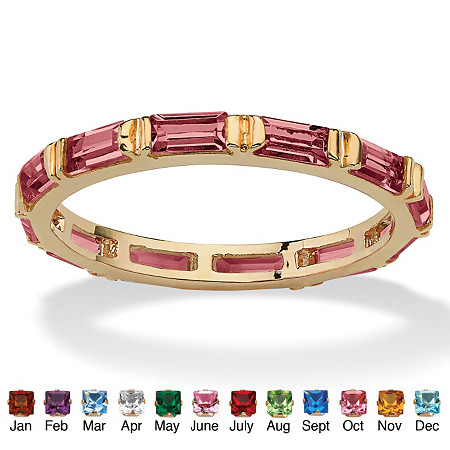 Baguette-Cut Birthstone Eternity Stack Ring 14k Gold-Plated at PalmBeach Jewelry