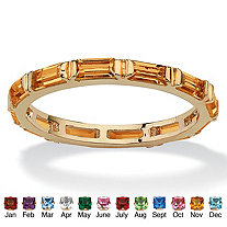 Baguette-Cut Birthstone Eternity Stack Ring 14k Gold-Plated