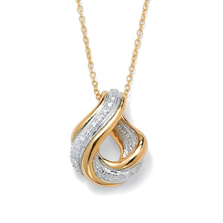 Diamond Accent Swirled Pendant Necklace in 18k Gold over Sterling Silver at PalmBeach Jewelry