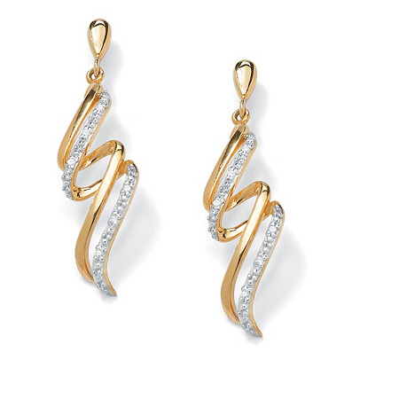 Diamond Accent Spiral Ribbon Drop Earrings in 18k Gold over .925 Sterling Silver at PalmBeach Jewelry