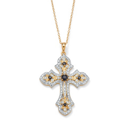 .45 TCW Genuine Midnight Sapphire and Diamond Accented Cross Pendant 18k Gold over Sterling Silver at PalmBeach Jewelry