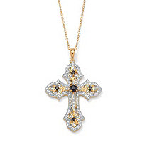 .45 TCW Genuine Midnight Sapphire and Diamond Accented Cross Pendant 18k Gold over Sterling Silver