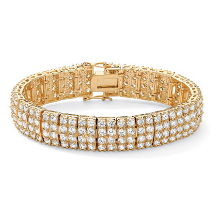 20 TCW Round Cubic Zirconia 14k Yellow Gold-Plated Multi-Row Station Bracelet 7 1/2