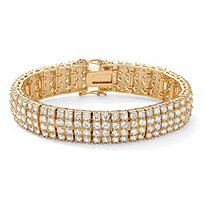 20 TCW Round Cubic Zirconia 14k Yellow Gold-Plated Multi-Row Station Bracelet 7 1/2""