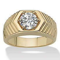 Men's 2 TCW Round Cubic Zirconia 14k Yellow Gold-Plated Chevron Ring