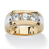 SETA JEWELRY Men's 1.50 TCW Channel-Set Cubic Zirconia 14k Gold over Sterling Silver Triple-Stone Ring