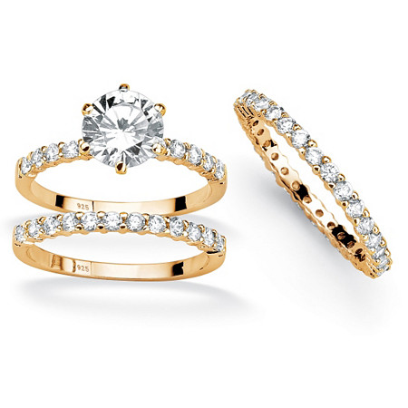 3.74 TCW Cubic Zirconia 18k Gold over Sterling Silver Wedding Ring Set With BONUS Eternity Band at PalmBeach Jewelry
